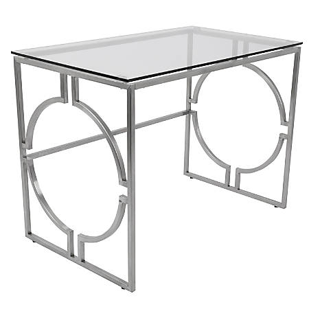 Lumisource Dynasty Contemporary Desk, Stainless Steel