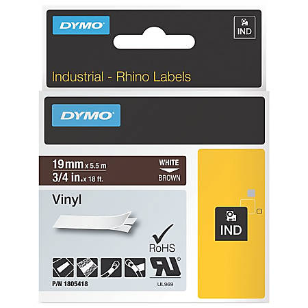 """Dymo White on Brown Color Coded Label - Permanent Adhesive - 3/4"""" Width x 18 ft Length - Thermal Transfer - Brown - Vinyl"""