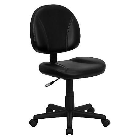 Flash Furniture Leather Mid-Back Ergonomic Swivel Chair, Black