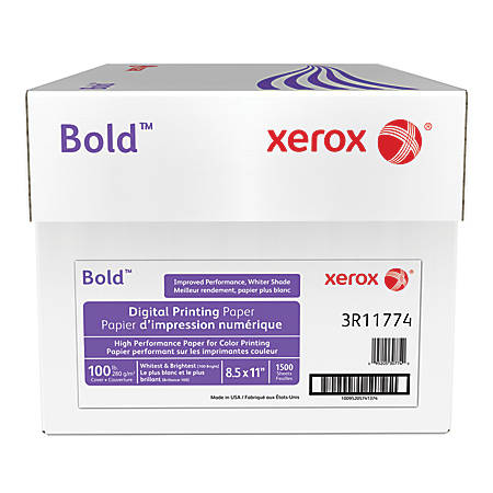 Xerox® Bold Digital™ Printing Paper, Letter Size, 100 Brightness, 100 Lb Cover (270 gsm), FSC® Certified, White, 250 Sheets Per Ream, Case Of 6 Reams