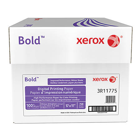 "Xerox® Bold Digital™ Printing Paper, 17"" x 11"", 100 Brightness, 100 Lb Cover (270 gsm), FSC® Certified, White, 250 Sheets Per Ream, Case Of 3 Reams"
