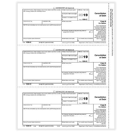 """ComplyRight™ 1099-C Tax Forms, Laser Cut, Copy B, 8-1/2"""" x 11"""", Pack Of 50 Forms"""