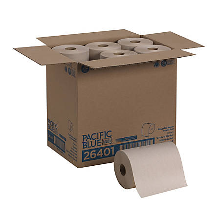 """Pacific Blue Basic™ by GP PRO Paper Towel Rolls, 7 7/8"""" x 350', Brown, 350 Sheets Per Roll, Case Of 12 Rolls"""