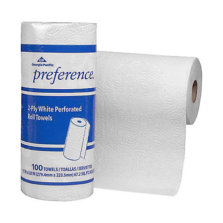 "Georgia-Pacific Preference® 2-Ply Paper Roll Towels, 8 4/5"" x 11"", White, Roll Of 100 Sheets"