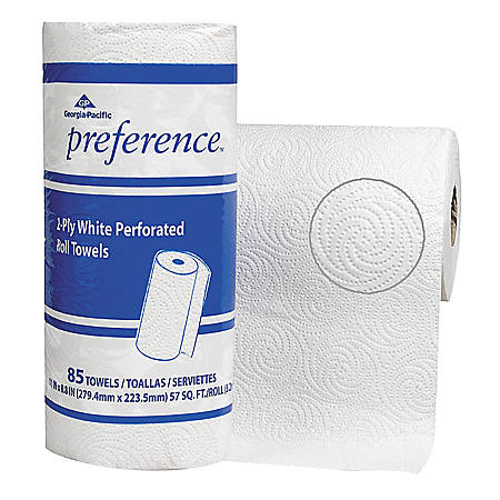 """Georgia-Pacific Preference® 2-Ply Paper Roll Towels, 8 4/5"""" x 11"""", White, Roll Of 85 Sheets"""