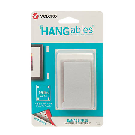 "VELCRO® Brand HANGables™ Removable Wall Fasteners, 3"" x 1.75"", White, Pack Of 4 Strips"