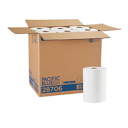 "Pacific Blue Basic™ by GP PRO Paper Towel Rolls, 7 7/8"" x 350', White, Case Of 12 Rolls"