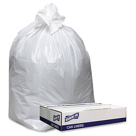 """Genuine Joe Extra Heavy-duty White Trash Can Liners - 38"""" Width x 58"""" Length x 0.90 mil (23 Micron) Thickness - Low Density - White - 100/Carton - Can, Waste Disposal"""
