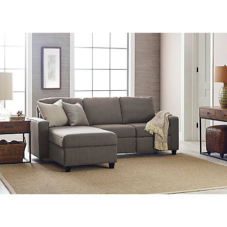 Serta Palisades Reclining Sectional With Storage Chaise, Left, Gray/Espresso