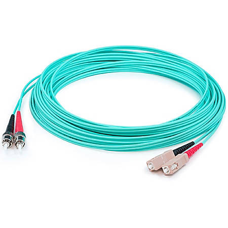 AddOn 30m SC (Male) to ST (Male) Aqua OM4 Duplex Fiber OFNR (Riser-Rated) Patch Cable - 100% compatible and guaranteed to work in OM4 and OM3 applications