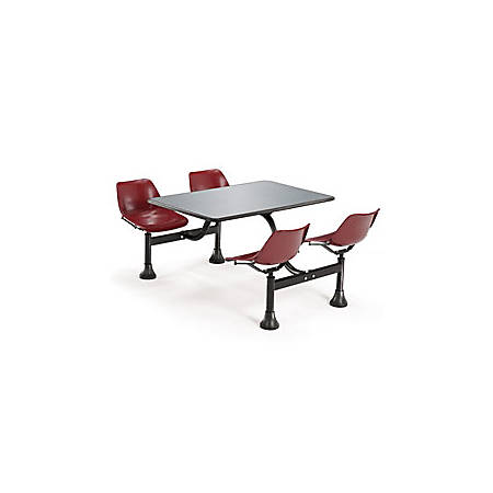 """OFM 71""""W Cluster Table And 4-Chair Set, Maroon/Stainless Steel"""