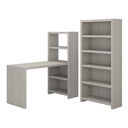 kathy ireland® Office by Bush Business Furniture Echo Bookcase Desk With Storage, Gray Sand, Standard Delivery