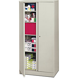 basyx by HON® Easy-To-Assemble Storage Cabinet, 5 Shelves, Locking, Light Gray