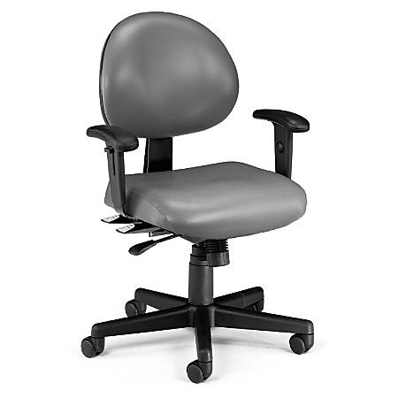OFM 24-Hour Anti-Microbial Anti-Bacterial Mid-Back Task Chair With Arms, Charcoal/Black