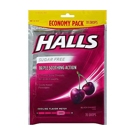 Halls Sugar-Free Black Cherry Cough Drops, 70 Drops Per Bag, Pack Of 2 Bags