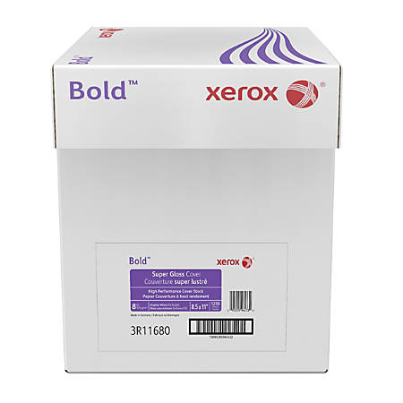 Xerox® Bold Digital™ Super Gloss Cover, Letter Size, 92 Brightness, 8 Pt (170 gsm), FSC® Certified, White, 250 Sheets Per Ream, Case Of 5 Reams