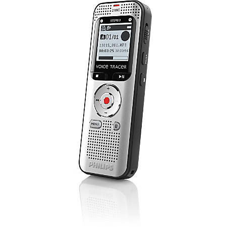 "Philips Voice Tracer Audio Recorder (DVT2000) - 4 GBmicroSD Supported - 1.3"" LCD - MP3, WAV - Headphone - 270 HourspeaceRecording Time - Portable"