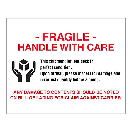 """Tape Logic Pallet Protection Labels, """"Fragile Handle With Care"""", Rectangular, DL1636, 8"""" x 10"""", Multicolor, Roll Of 250 Labels"""