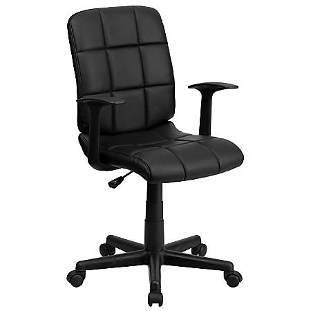 Flash Furniture Quilted Vinyl Mid-Back Swivel Task Chair, Black