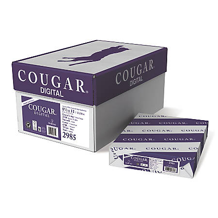 "Cougar® Digital Printing Paper, Letter Size (8 1/2"" x 11""), 98 (U.S.) Brightness, 65 Lb Cover (176 gsm), FSC® Certified, 250 Sheets Per Ream, Case Of 10 Reams"