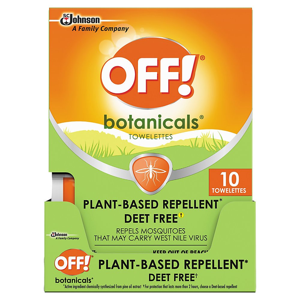 Head outside with OFF! Botanicals insect repellent by your side. The gentle formula is free of DEET and won't leave your skin feeling sticky or greasy, so you can enjoy the great outdoors in comfort.  Helps keep gnats and mosquitoes away.  Plant-based formula is DEET free.  Does not leave a sticky or greasy residue behind.  80 wipes total are included.