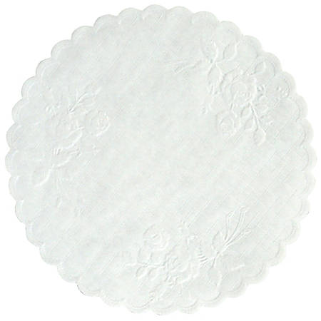 """Hoffmaster Round Rose Doilies, 6"""", White, Case Of 1,000 Doilies"""