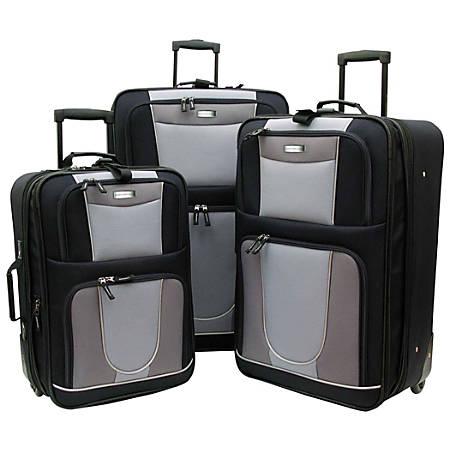 Overland Geoffrey Beene Carnegie 3-Piece Luggage Set, Black/Gray