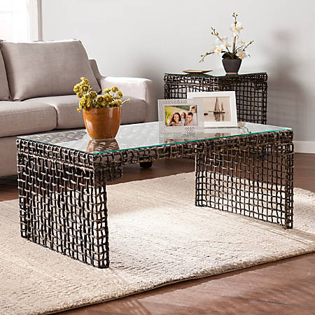 Southern Enterprises Loni Woven Cocktail Table, Rectangle, Clear/Dark Blackwashed Brown