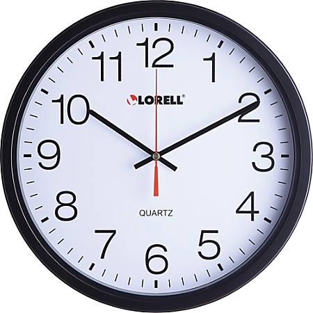 "Lorell 12-1/2"" Slimline Wall Clock - Analog - Quartz"