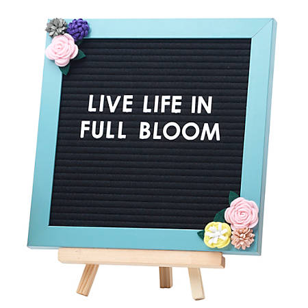"Office Depot® Brand Decorative Felt Letter Board With Easel, 10"" x 10"", Blue/Floral"
