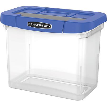 "Bankers Box® Heavy-Duty Plastic Portable File Box, 10 3/4""H x 6 3/4""W x 11 3/4""D, Blue/Clear"