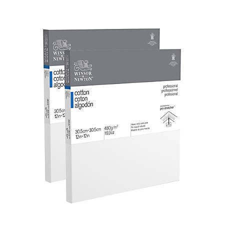 """Winsor & Newton Professional Cotton-Stretched Traditional Canvases, 12"""" x 12"""", White, Pack Of 2"""