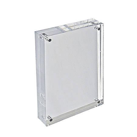 "Azar Displays Acrylic Vertical/Horizontal Block Frame, 8 1/2"" x 5 1/2"", Clear"