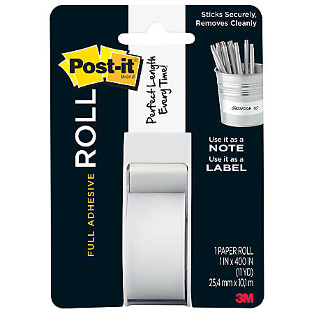 """Post-it® Notes Full Adhesive Roll, 1"""" x 400"""", White"""