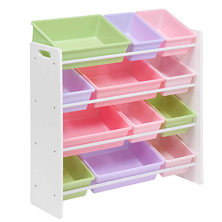 "Honey-can-do SRT-01603 Kids Toy Organizer and Storage Bins, White/Pastel - 12 x Bin - 36"" Height x 12.5"" Width - Wall Mountable - White, Pastel Frame - Plastic, Wood, MDF"
