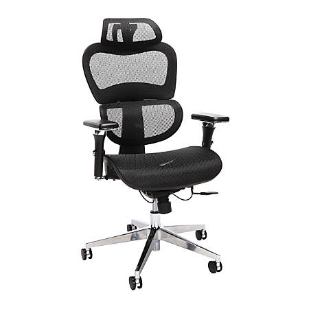 OFM Core Collection Model 540 Ergo Mesh High-Back Chair With Headrest, Black/Chrome