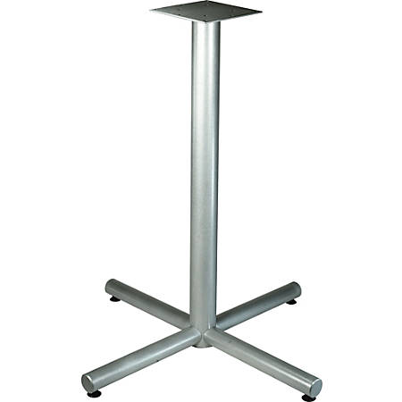 """Lorell Silver Bistro-height X-leg Table Base - Metallic Silver X-shaped Base - 40.75"""" Height x 36"""" Width - Assembly Required"""