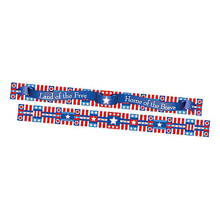 "Barker Creek Double-Sided Borders, 3"" x 35"", Americana, 12 Strips Per Pack, Set Of 2 Packs"