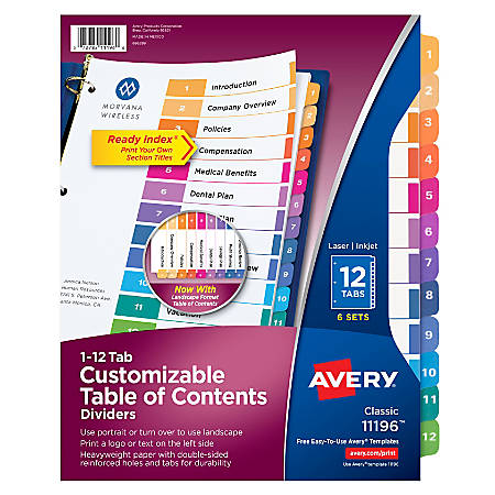 Avery® Ready Index® 20% Recycled Table Of Contents Dividers, 1-12 Tab, Multicolor, Pack Of 6 Sets