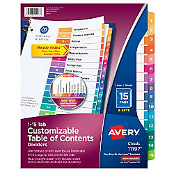 Avery Ready Index 20percent Recycled Table