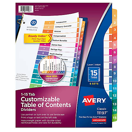 Avery® Ready Index® 20% Recycled Table Of Contents Dividers, 1-15 Tab, Multicolor, Pack Of 6 Sets