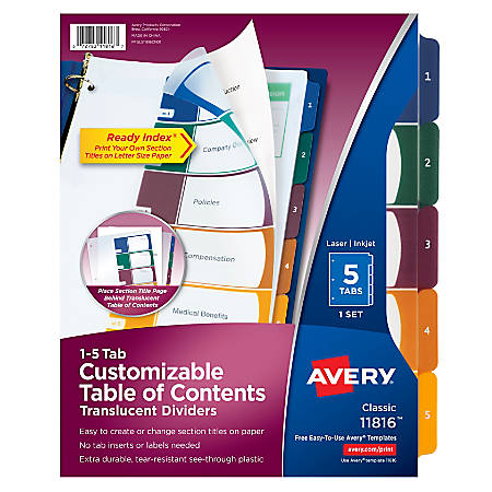 Avery® Ready Index® Plastic Table Of Contents Dividers, 5-Tab, Multicolor