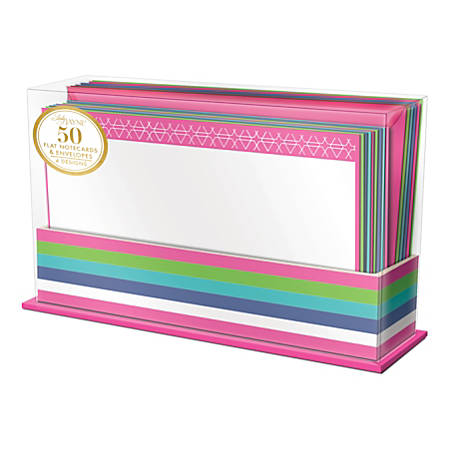 """Lady Jayne Flat-Panel Blank Note Cards With Envelopes, 5-1/2"""" x 3-1/2"""", Assorted Colorful Geo, Pack Of 50 Cards"""