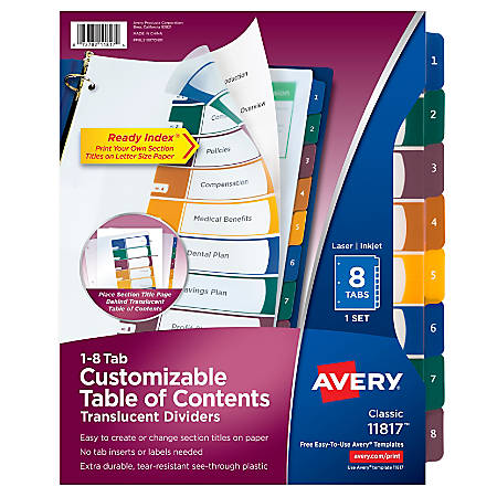 Avery® Ready Index® Plastic Table Of Contents Dividers, 8-Tab, Multicolor
