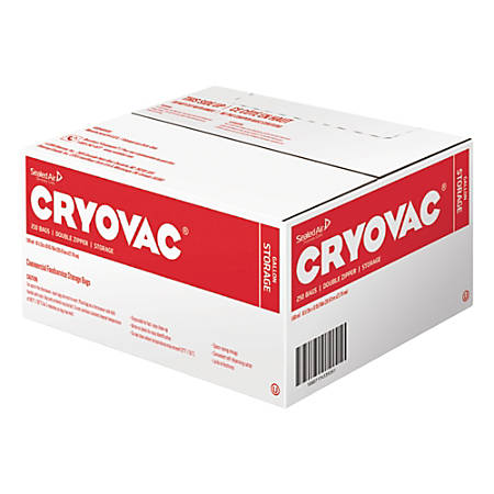 Diversey™ Cryovac® Dual-Zipper Storage Bags, 1 Gallon, Clear, Carton Of 250 Bags