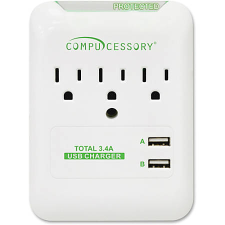 Compucessory 3-Outlet Surge Protector - 3 x AC Power, 2 x USB - 1800 VA - 540 J