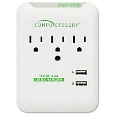 Compucessory 3 Outlet Surge Protector 3