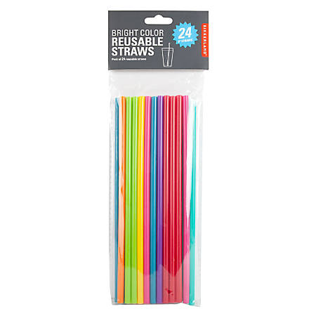 "Kikkerland Design Reusable Straws, 8"", Assorted Colors, Set Of 24 Straws"
