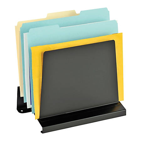 "MMF Industries Slanted Vertical Organizer, 6 Compartments, 11 1/2"" x 7 1/4"" x 11"", Black"
