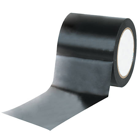 "BOX Packaging Solid Vinyl Safety Tape, 3"" Core, 4"" x 36 Yd., Black, Case Of 12"